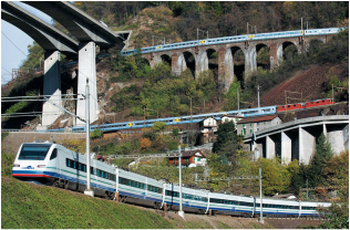 Swiss intercity and bullet trains on the Gotthard Pass near Wassen