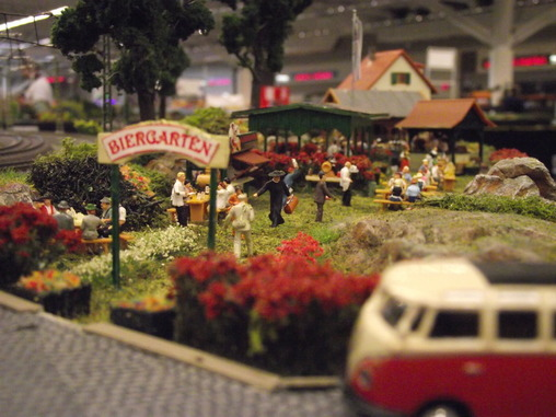 A beergarden on the Marklin modular layout of the European Train Enthusiasts Great Lakes Chapter